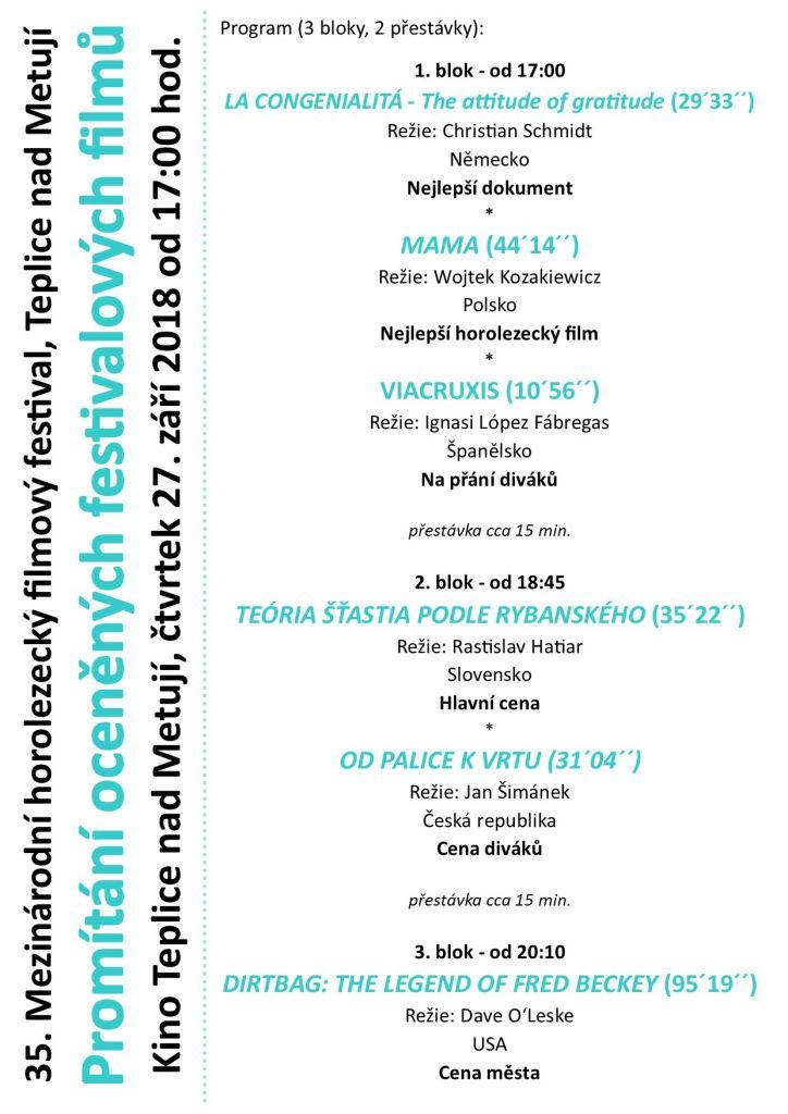 Promítání vítězných festivalových filmů.